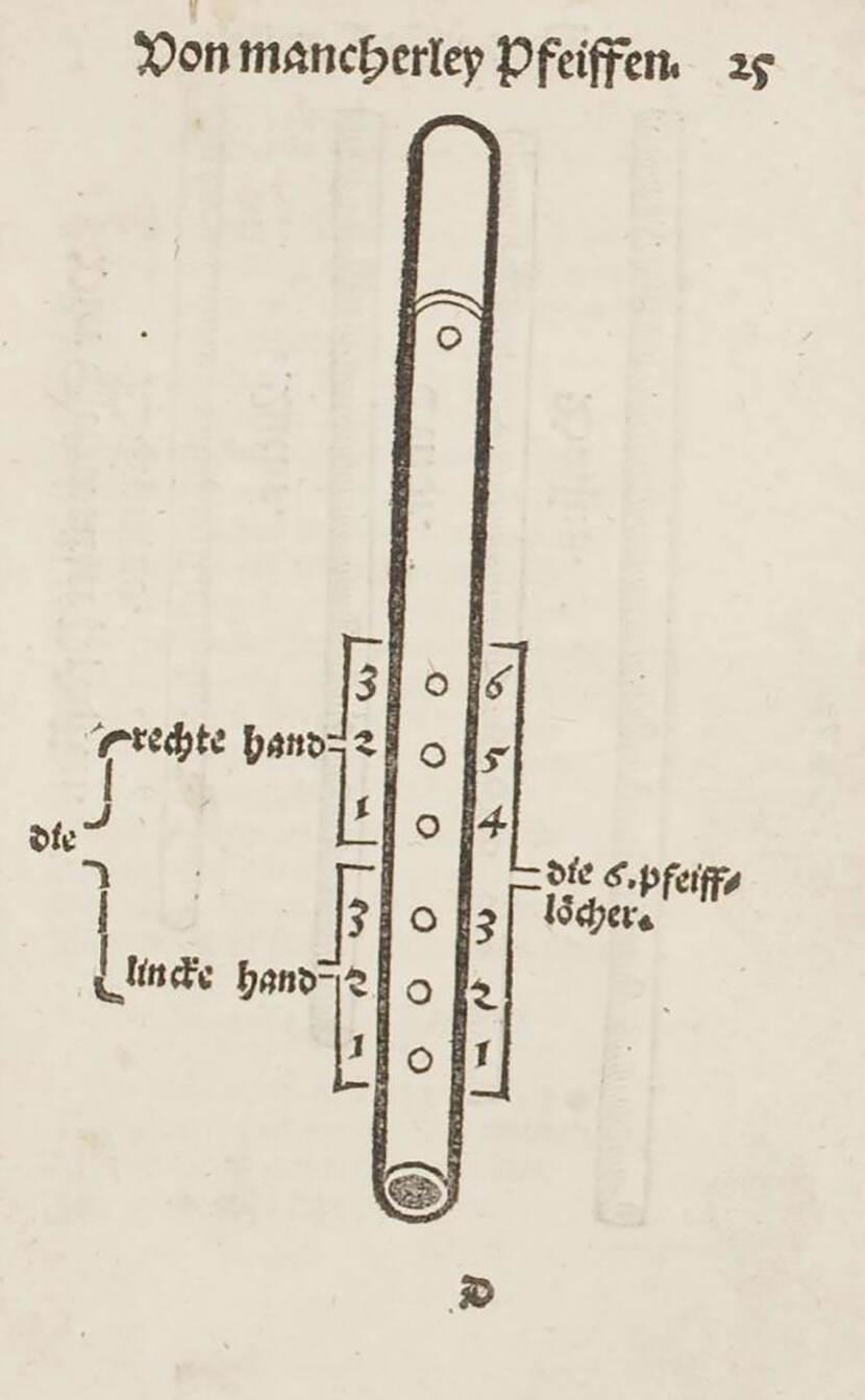Tekening van de dubbele lijn in de buis van de fluit
