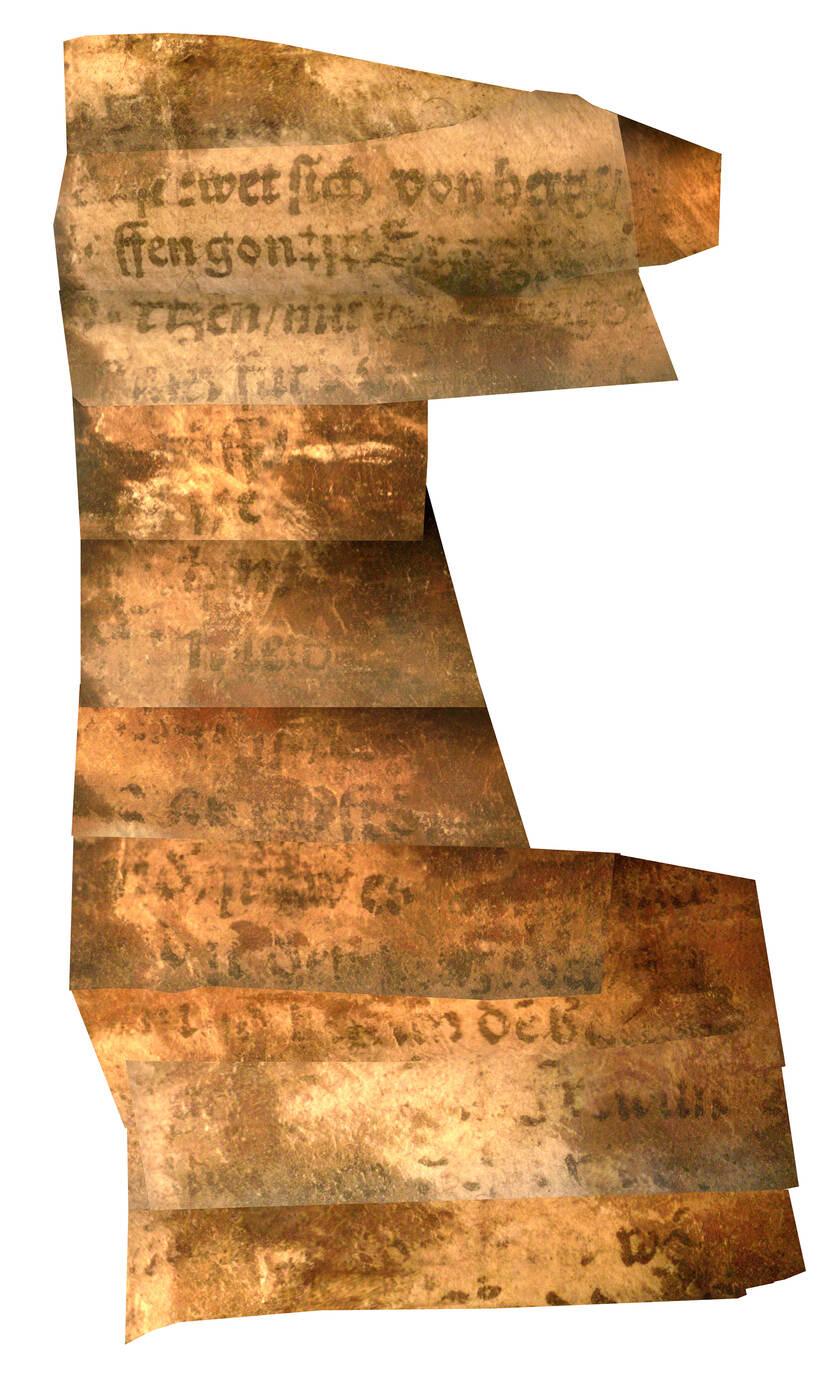 Foto van het papier gevonden in de Fluit van Warder