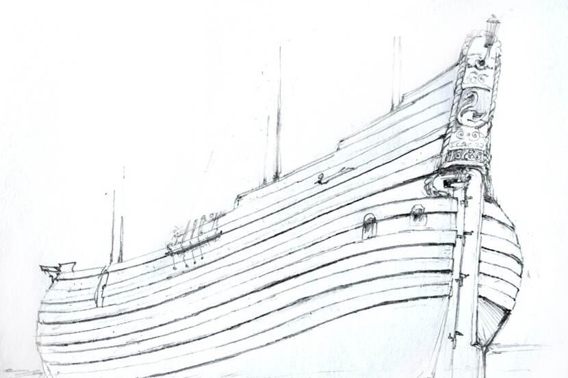 Tekening waarop de positie van een hakkebord op een schip is aangegeven